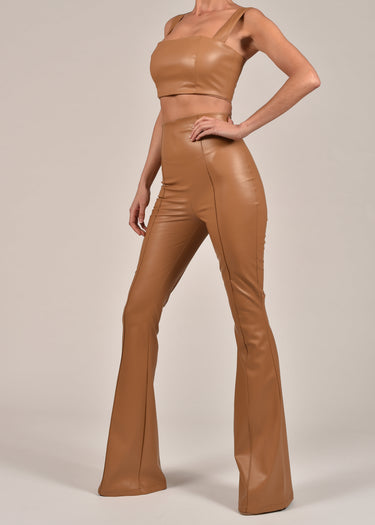 Leather Flare Suit in Tan