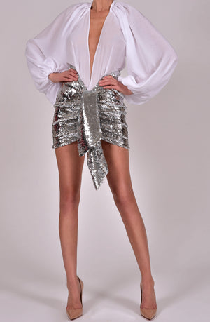 Beaudelle Skirt in Silver Sequin