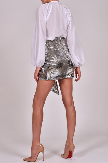 Beaudelle Skirt and Top in Silver Sequin