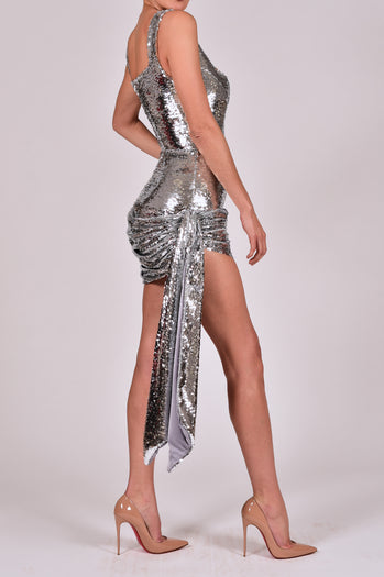 Cindy Dress in Silver Sequin