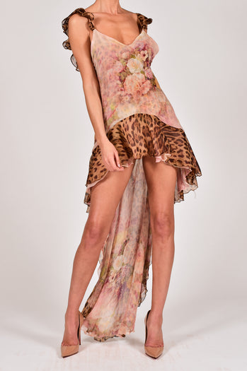 Krista Dress in Rose and Leopard Silk