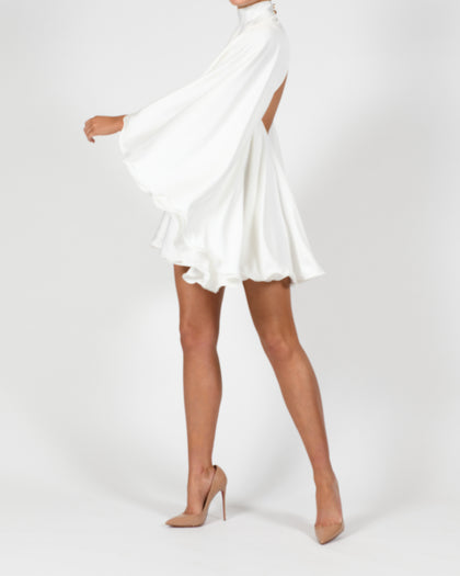Lorena High Neck Dress in Ivory