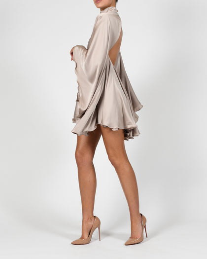 High Neck Lorena Dress in Mink