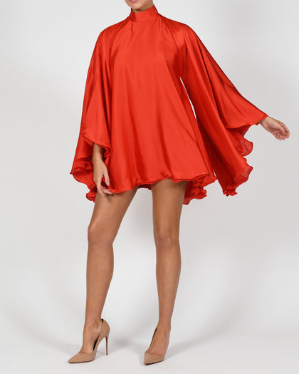 High Neck Lorena Dress in Red