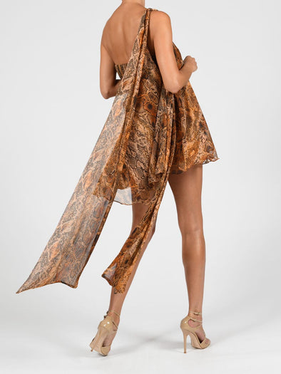 Anthia Dress In Python Silk