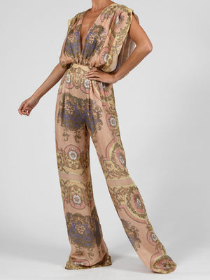 Yasmin Jumpsuit In Pastel Baroque Silk