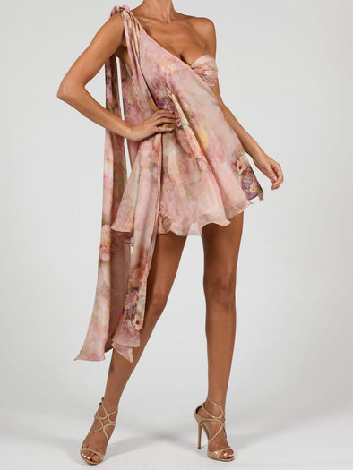 Anthia Dress In Rose Silk