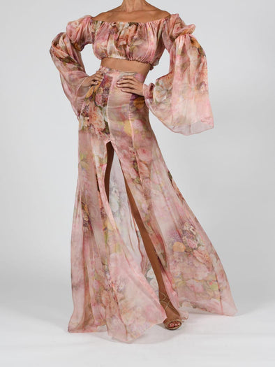 Ava Maxi Skirt Set In Rose Silk