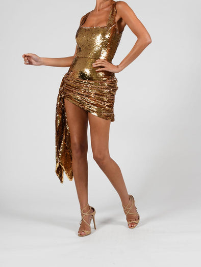 Cindy Dress in Liquid Gold Sequin