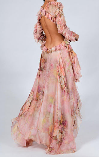 Kiah Maxi Dress in Rose Silk