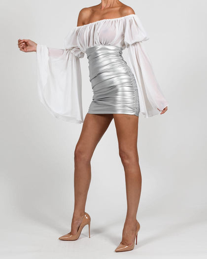 Kylie Skirt in Silver Leather