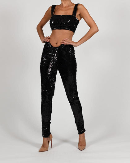 Beaudelle Trousers in Black Sequin