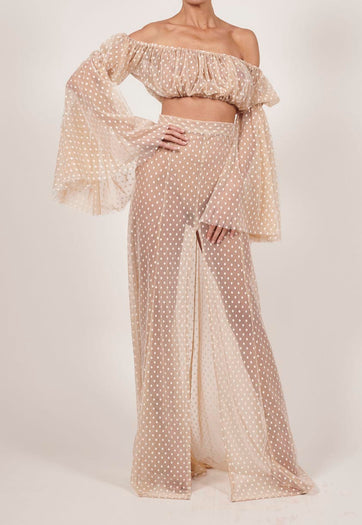 Paloma Maxi Skirt and Crop Top in Ivory Tulle