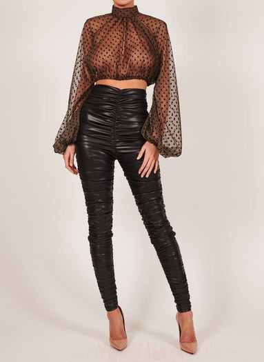 Kylie Blouse in Black Polka Dot