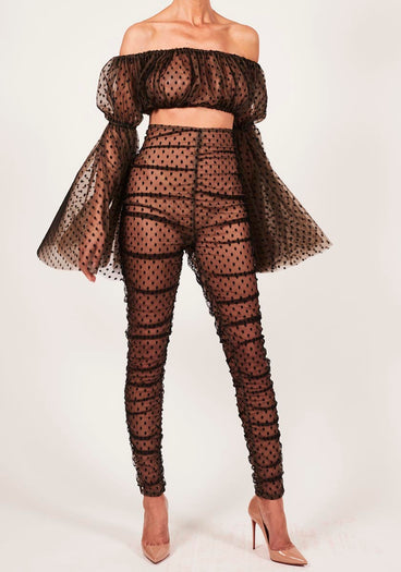 Kylie Polka Trouser with Ava Crop Top