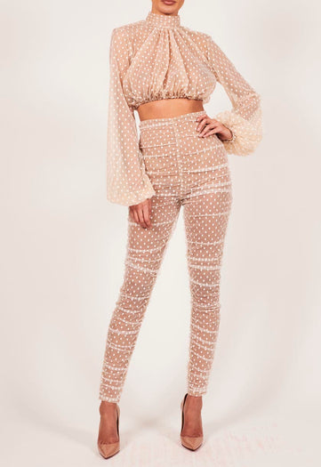 Kylie Suit in White Polka