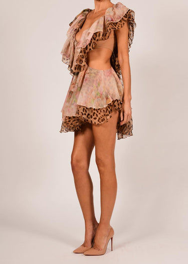 Sara Dress in Rose and Leopard Silk