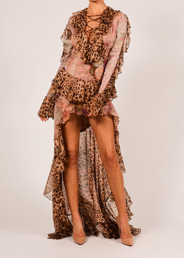 Rebecca Dress in Rose and Leopard Silk