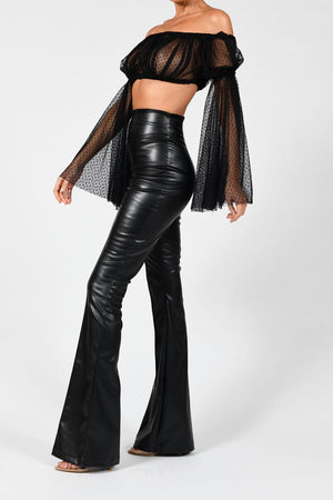 High Waisted Leather Flares