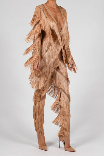 Donatella Jumpsuit in Nude Fringe