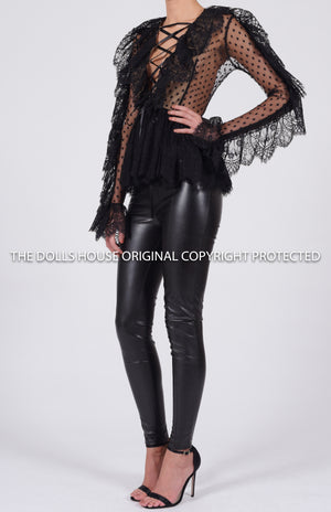Alexandria Blouse in Black Lace