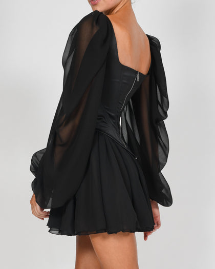 Mya Dress in Black Satin