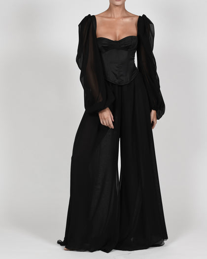 Mya Top And Trousers In Black Satin