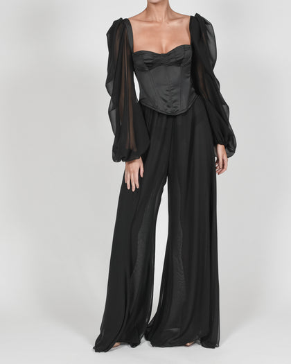Mya Blouse in Black Satin