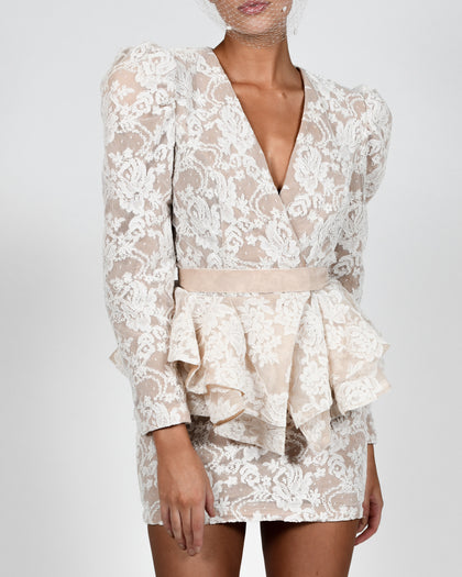 Libby Jacket and Mini Skirt in White Lace