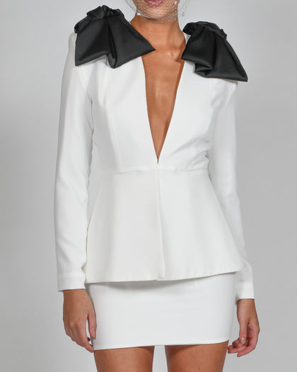 Beau Jacket and Mini Skirt in Ivory