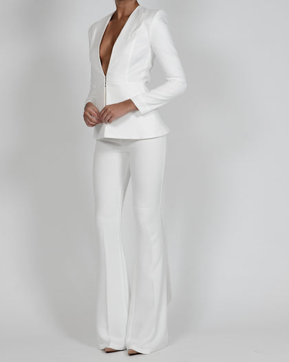 Chloe Jacket and Flare Suit in Ivory