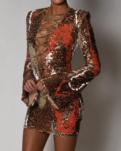Leah Dress in Gold Iridescence