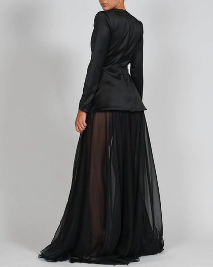 Olivia Dress in Black Satin