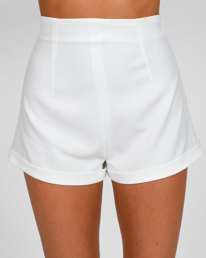 High Waisted Shorts in Ivory