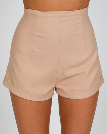High Waisted Shorts in Nude