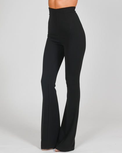 High Waisted Flared Trousers in Black Crepe