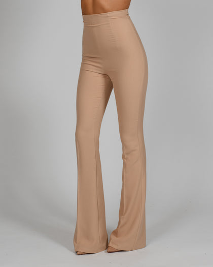 High Waisted Flared Trousers in Nude Crepe