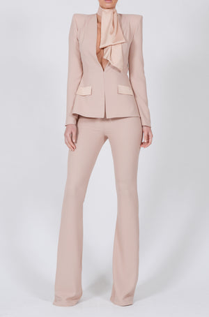 Faith Suit in Nude Crepe with Detachable Cravat