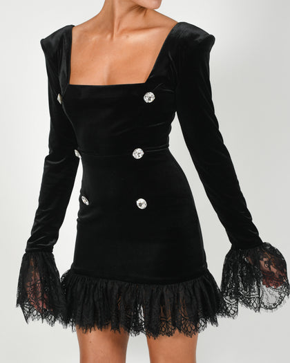 Stephanie Dress in Black Velvet