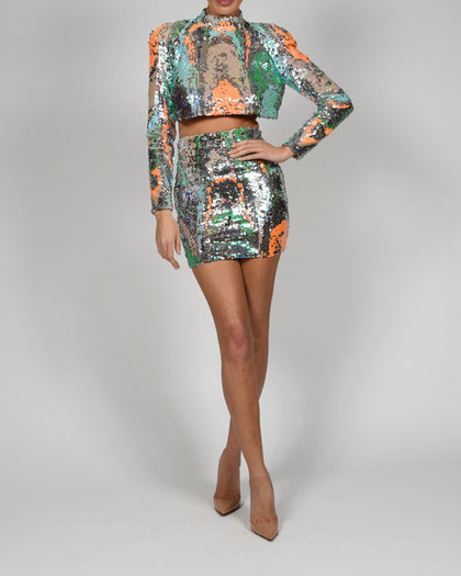 Kellis Top and Mini Skirt in Silver Iridescence