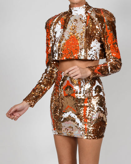 Kellis Top and Mini Skirt in Gold Iridescence