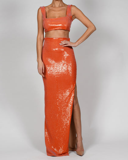 Kellis Bralette and Maxi Skirt in Tangerine