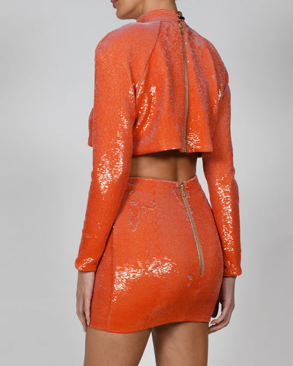 Kellis Top and Mini Skirt in Tangerine