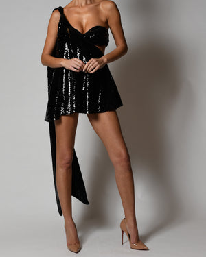 Anthia Dress in Black Sequin