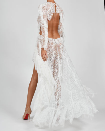 Kiah Maxi Dress in White French Lace