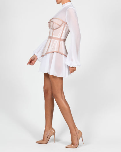 Helina Dress in White Chiffon