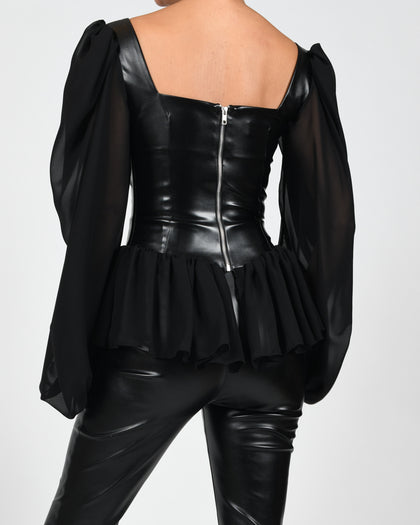 Linda Leather Blouse in Black