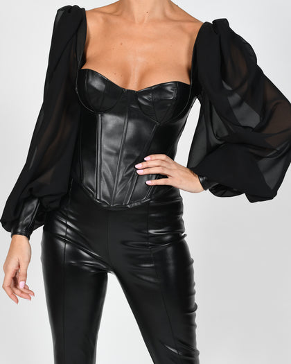 Mya Blouse In Black Leather