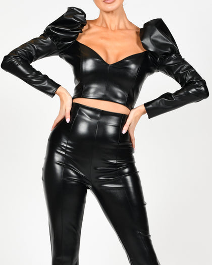 Carla Crop Top In Black Leather