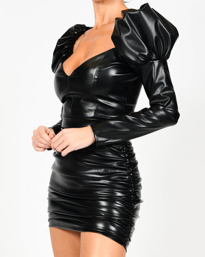 Carla Crop Top and Kylie Skirt In Black Leather